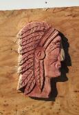 Indian head chainsaw plaque made from Red Cedar