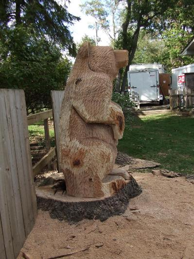 Solid Oak stump carving